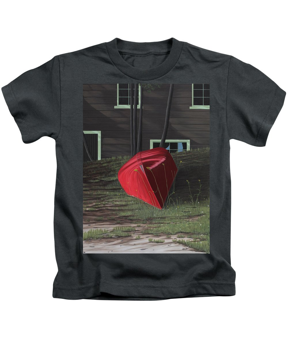 Canoes Kids T-Shirt featuring the painting Turned Down Day by Kenneth M Kirsch