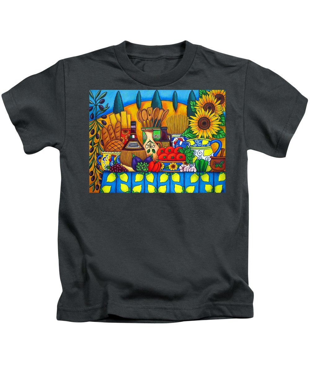 Still Life Kids T-Shirt featuring the painting Tuscany Delights by Lisa Lorenz