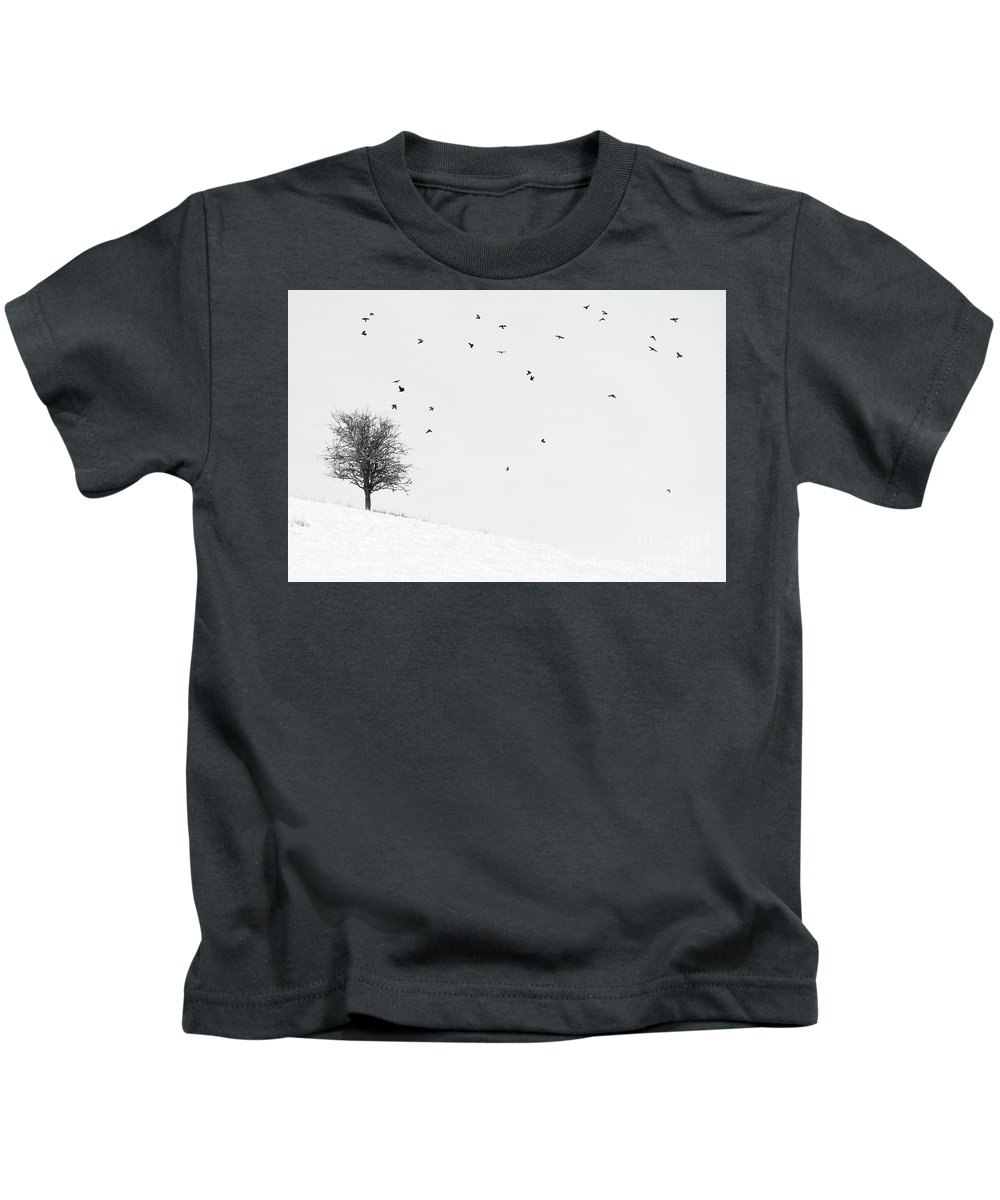 Trees In Winter Kids T-Shirt featuring the photograph Twenty Seven Birds by Janet Burdon