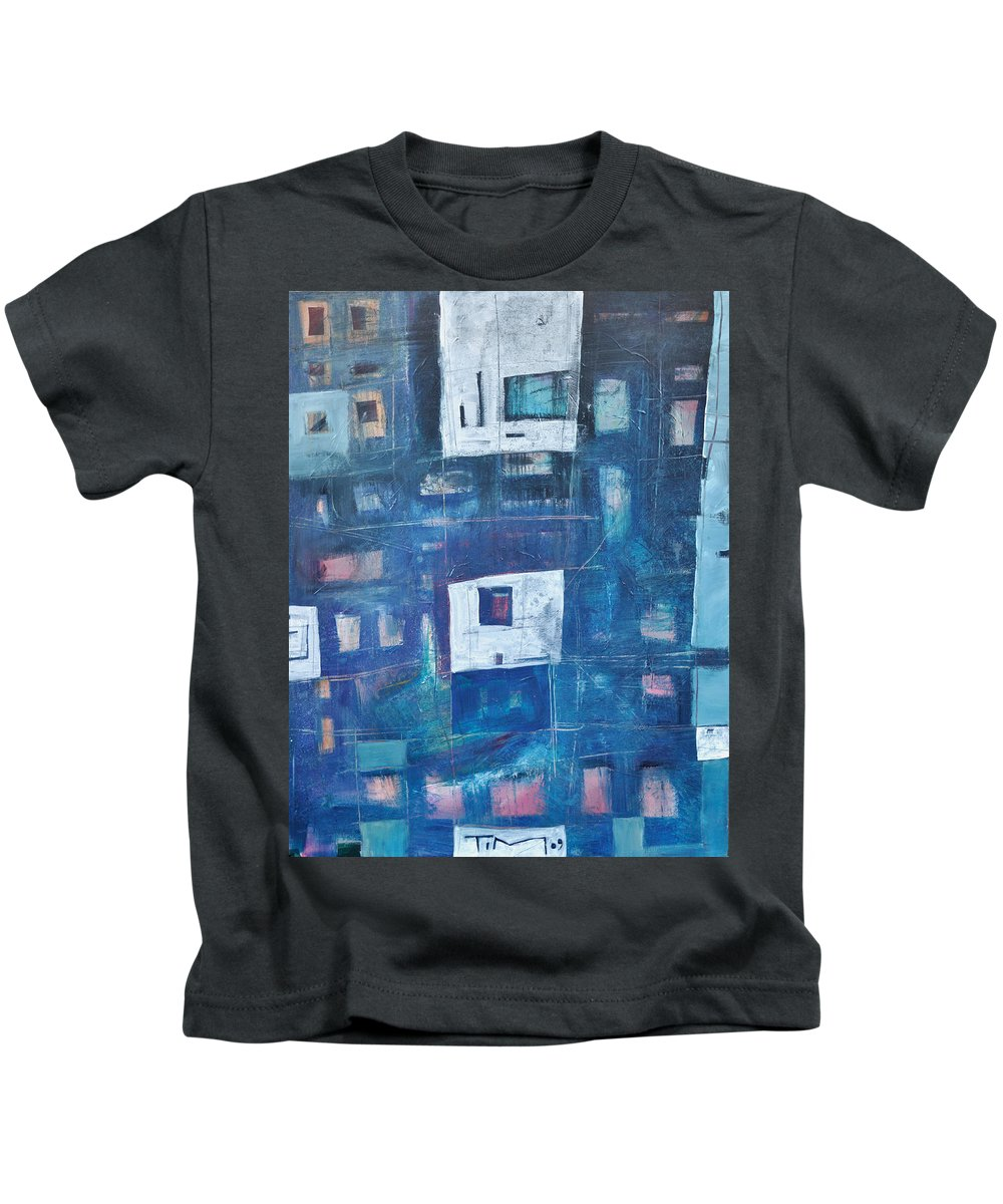 Abstract Kids T-Shirt featuring the painting Twilight Highrise by Tim Nyberg