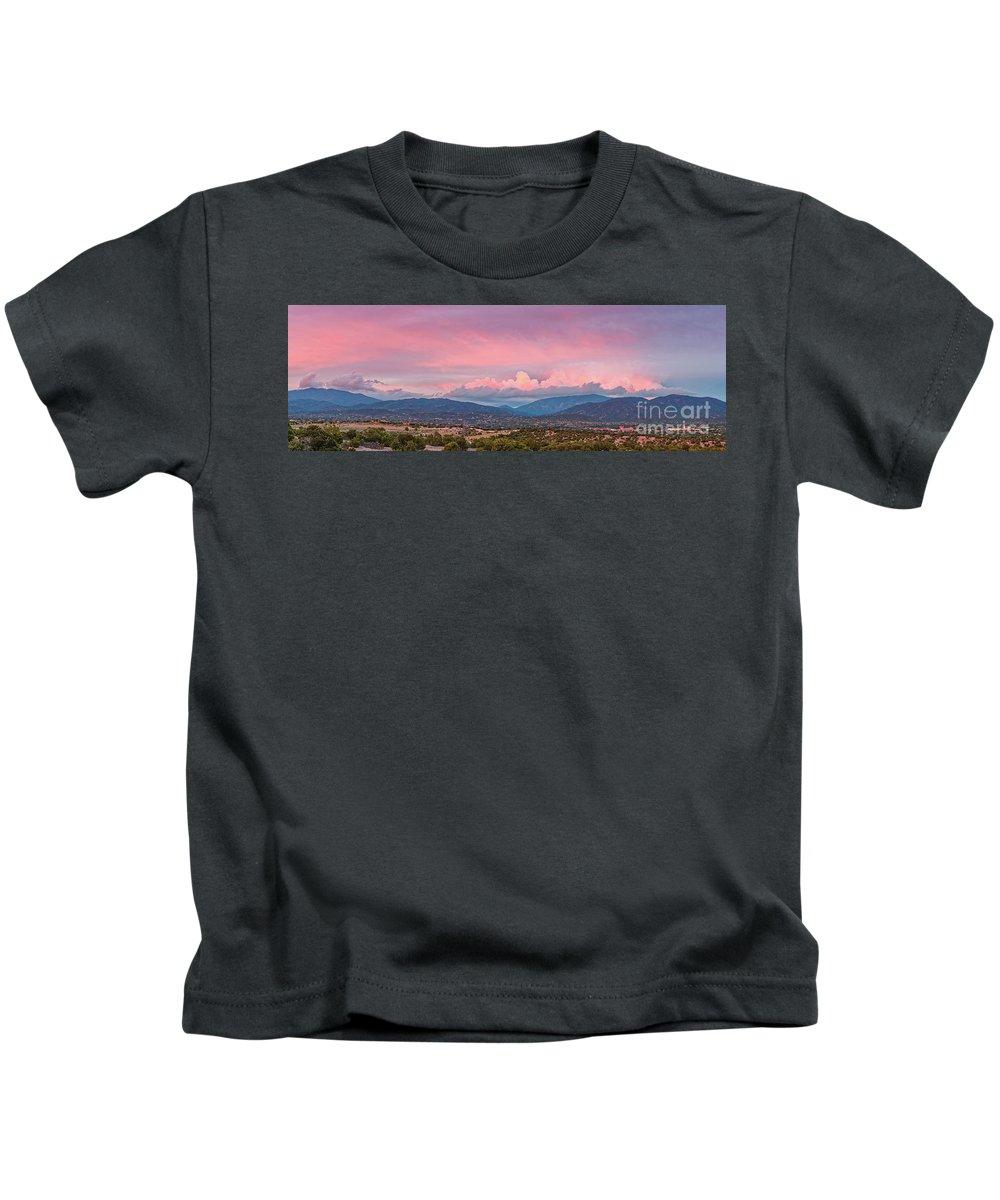 Santa Fe Kids T-Shirt featuring the photograph Twilight Panorama Of Sangre De Cristo Mountains And Santa Fe - New Mexico Land Of Enchantment by Silvio Ligutti