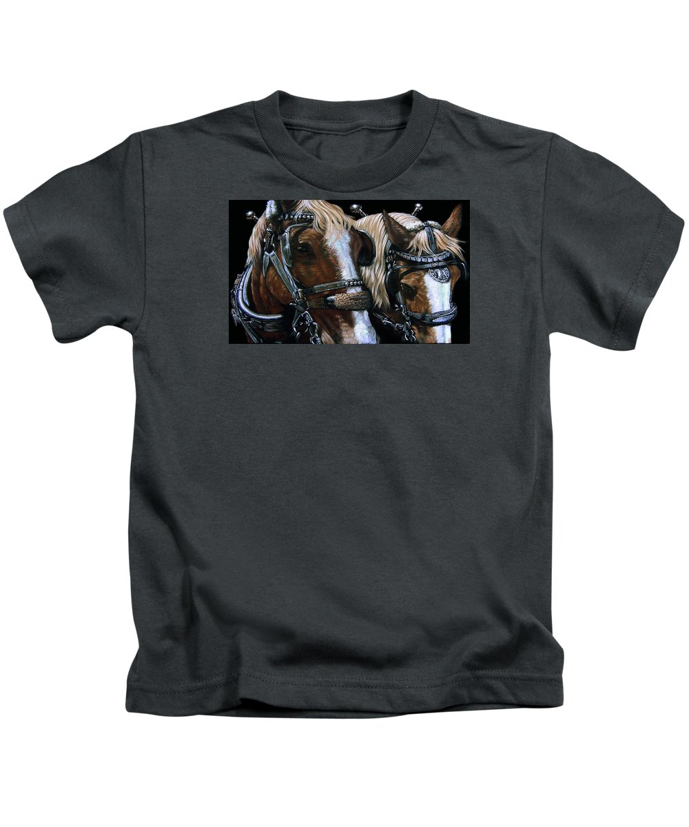 Horse Kids T-Shirt featuring the painting Twin Sisters by Anthony Harrison