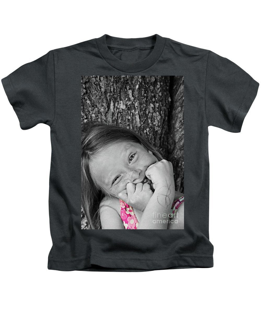 Portrait Kids T-Shirt featuring the photograph Twisted Expression by Aimelle