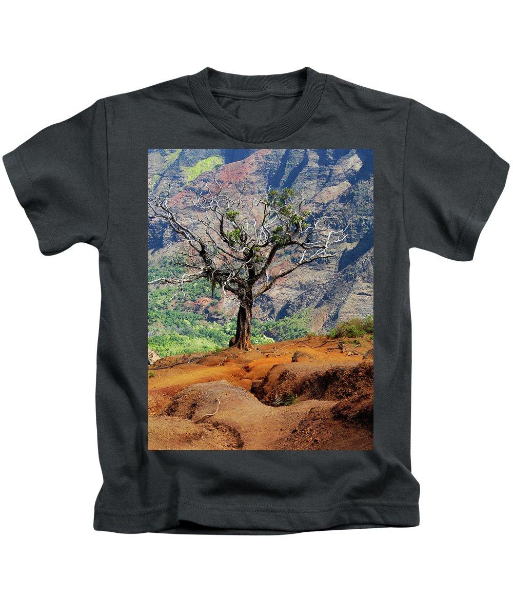 Tree Kids T-Shirt featuring the photograph Twisted Tree, Wiamea Canyon, Kawai Hawaii by Michael Bessler