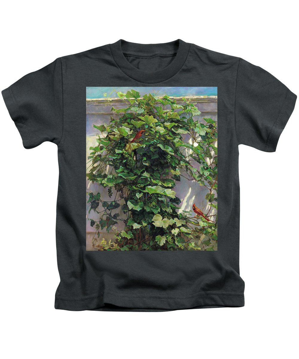 American Kids T-Shirt featuring the painting Two Cardinals On The Vine Tree by Svitozar Nenyuk