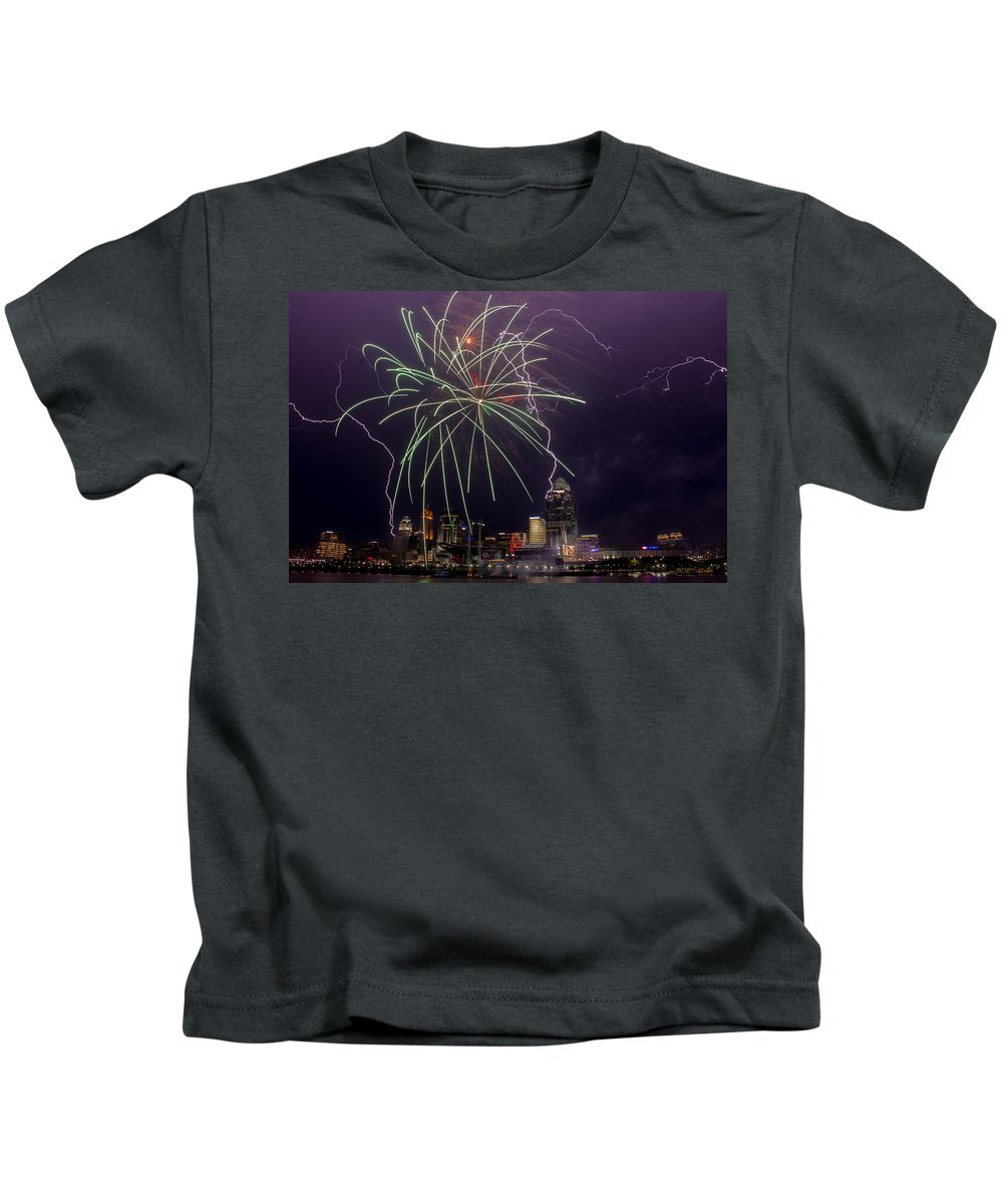 Fireworks Kids T-Shirt featuring the photograph Two For One by James Patterson