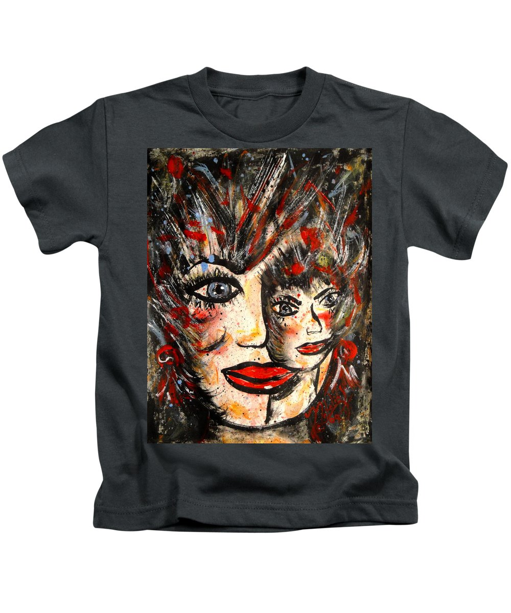 Free Expressionism Kids T-Shirt featuring the painting Two Heads Are Better Than One by Natalie Holland
