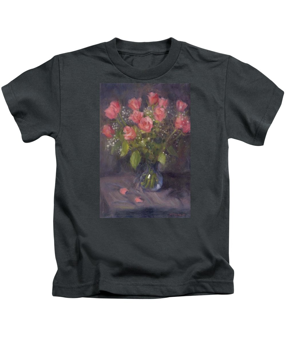 Flowers Kids T-Shirt featuring the painting Two Petals by Michael Gillespie
