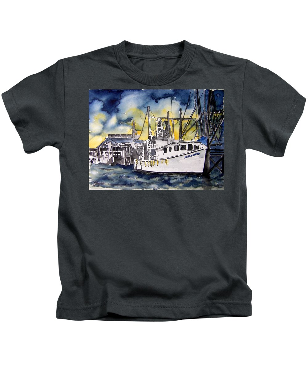 Georgia Kids T-Shirt featuring the painting Tybee Island Georgia Boat by Derek Mccrea