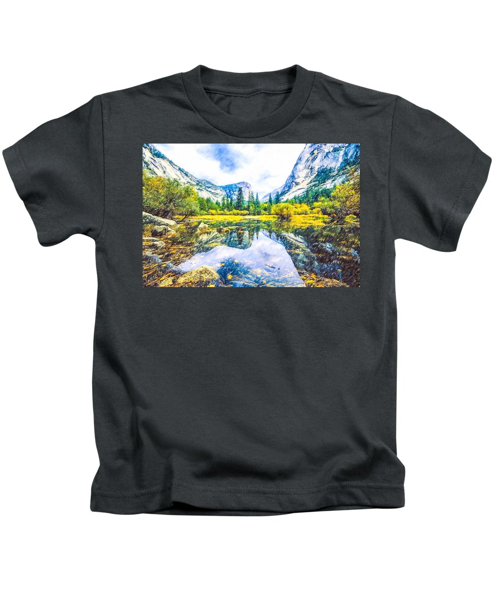 Cathedral Kids T-Shirt featuring the painting Typical View Of The Yosemite National Park by Jeelan Clark