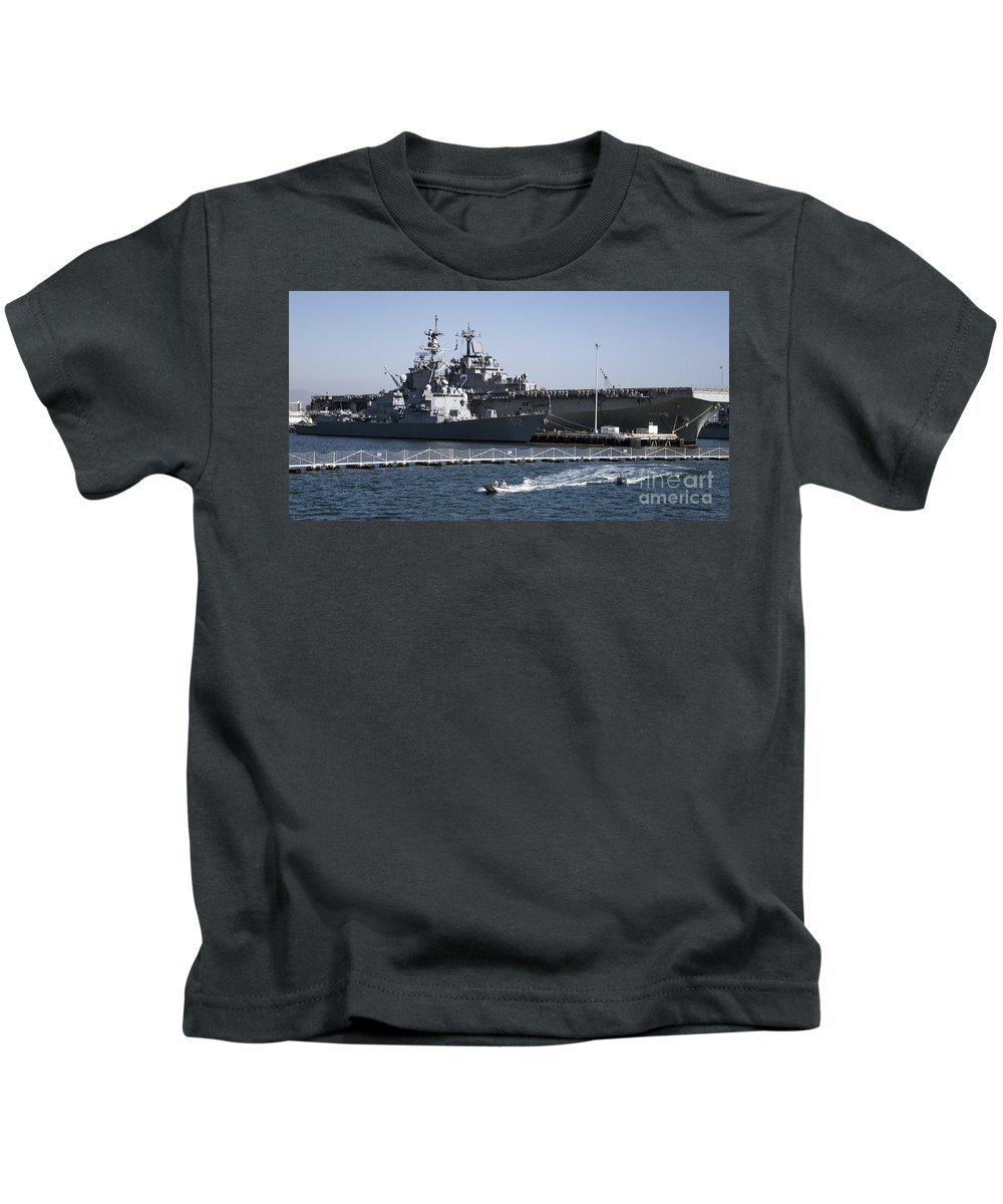 Uss Sampson Kids T-Shirt featuring the photograph U S S Sampson And U S S Essex In San Diego by Kenneth Lempert