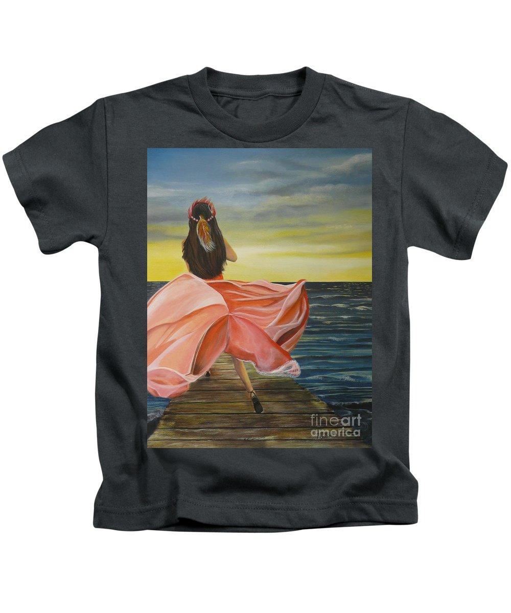 Sunset Kids T-Shirt featuring the painting Uhane O Ka Welo by Kris Crollard