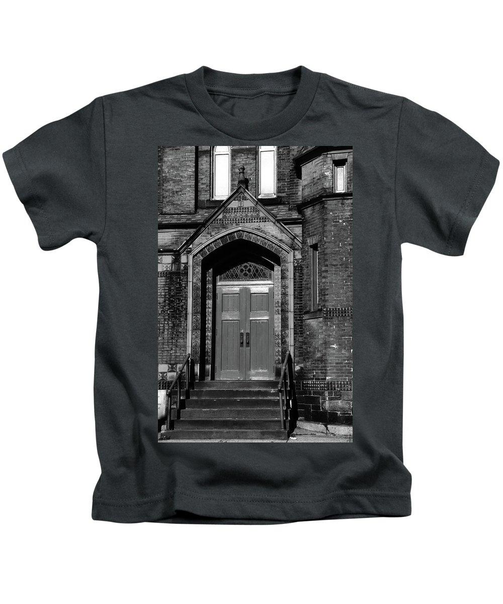Church Kids T-Shirt featuring the photograph Ukrainian Catholic Church Bw by Karol Livote