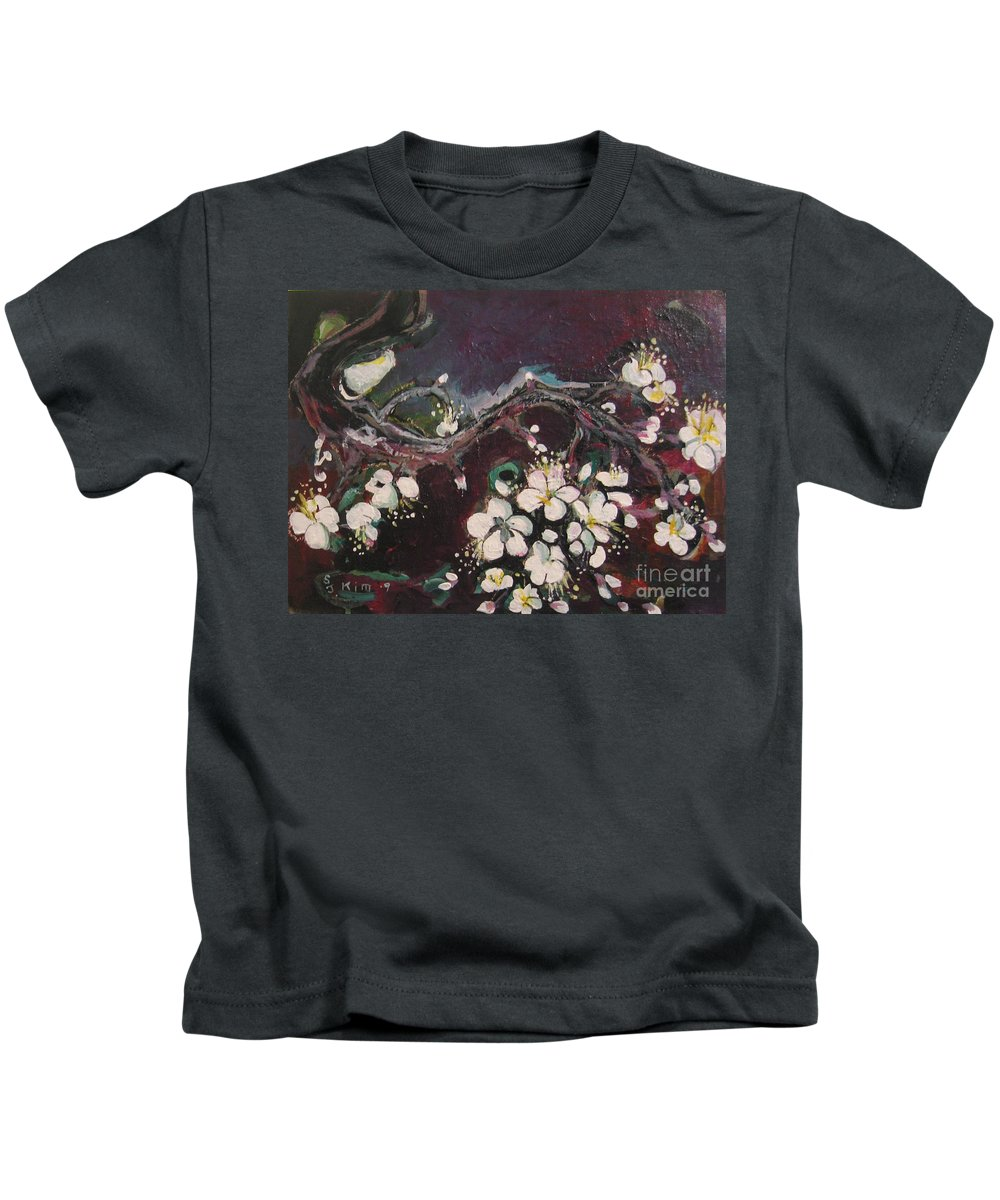 Ume Blossoms Paintings Kids T-Shirt featuring the painting Ume Blossoms by Seon-Jeong Kim