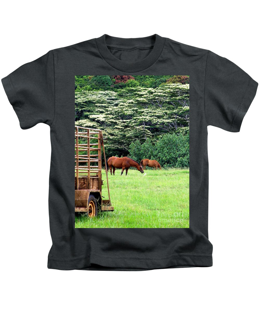 Mary Deal Kids T-Shirt featuring the photograph Under The Albesias by Mary Deal