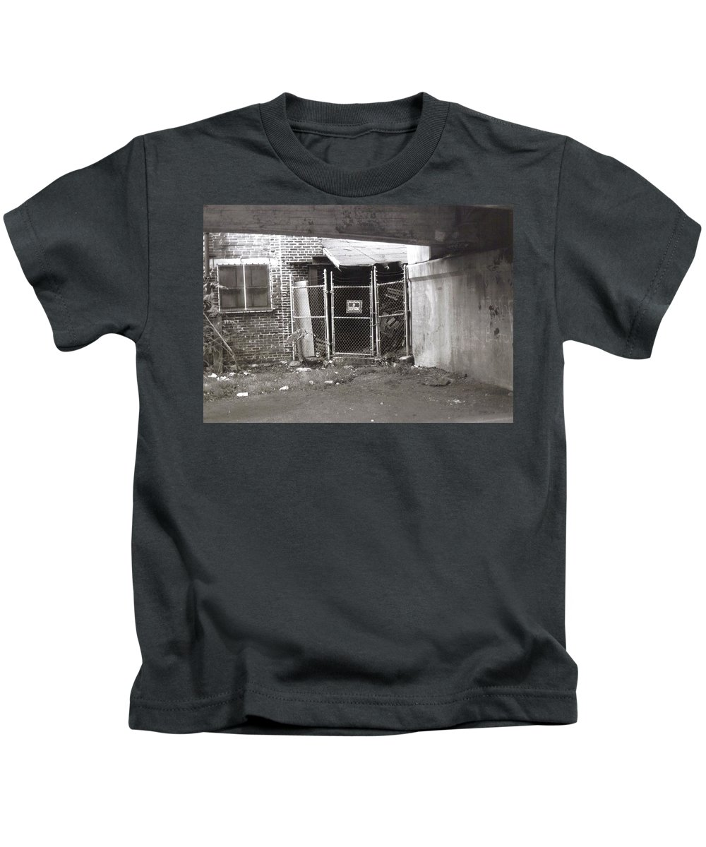 Black And White Photograph Kids T-Shirt featuring the photograph Under The Bridge by Thomas Valentine