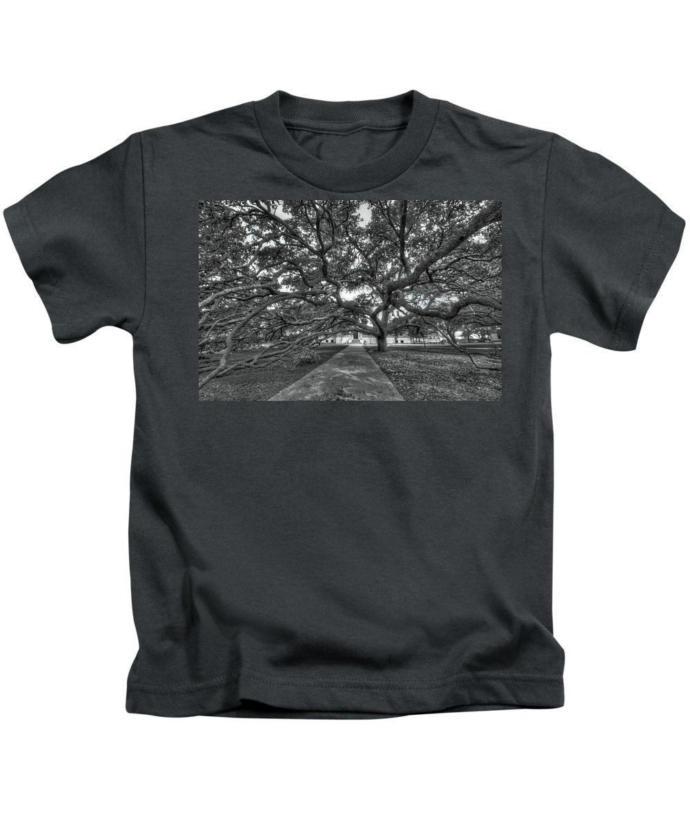 Century Tree Kids T-Shirt featuring the photograph Under The Century Tree - Black And White by David Morefield