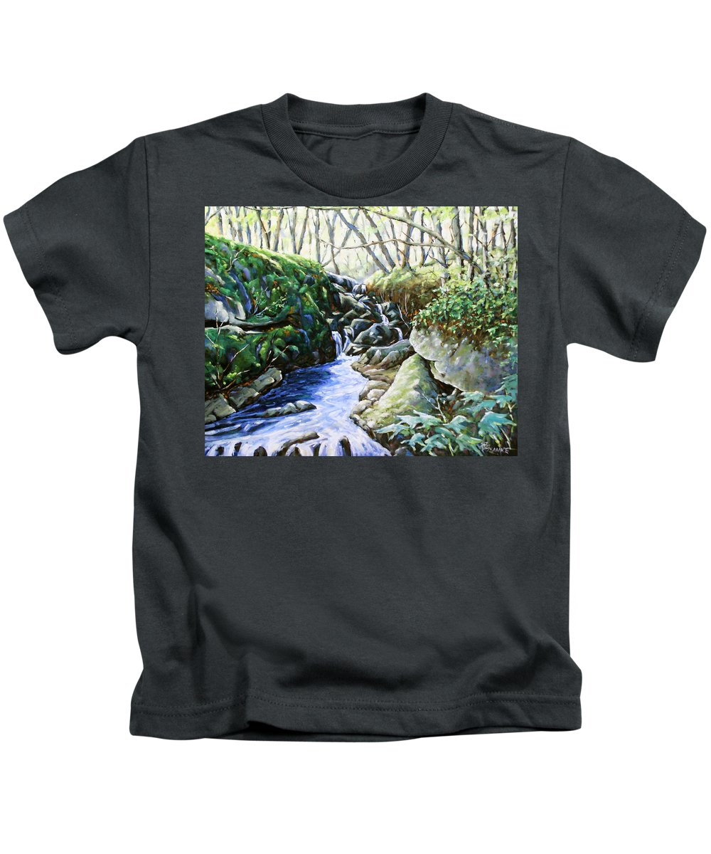 Peintre Kids T-Shirt featuring the painting Under Wood 02 by Richard T Pranke
