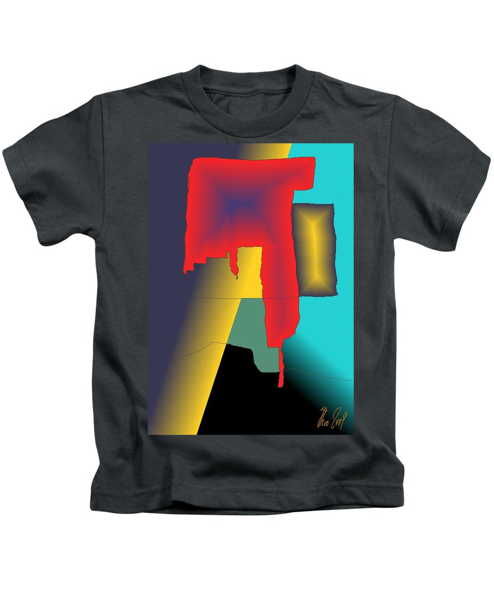 Red Kids T-Shirt featuring the digital art Unexpected- Red by Helmut Rottler