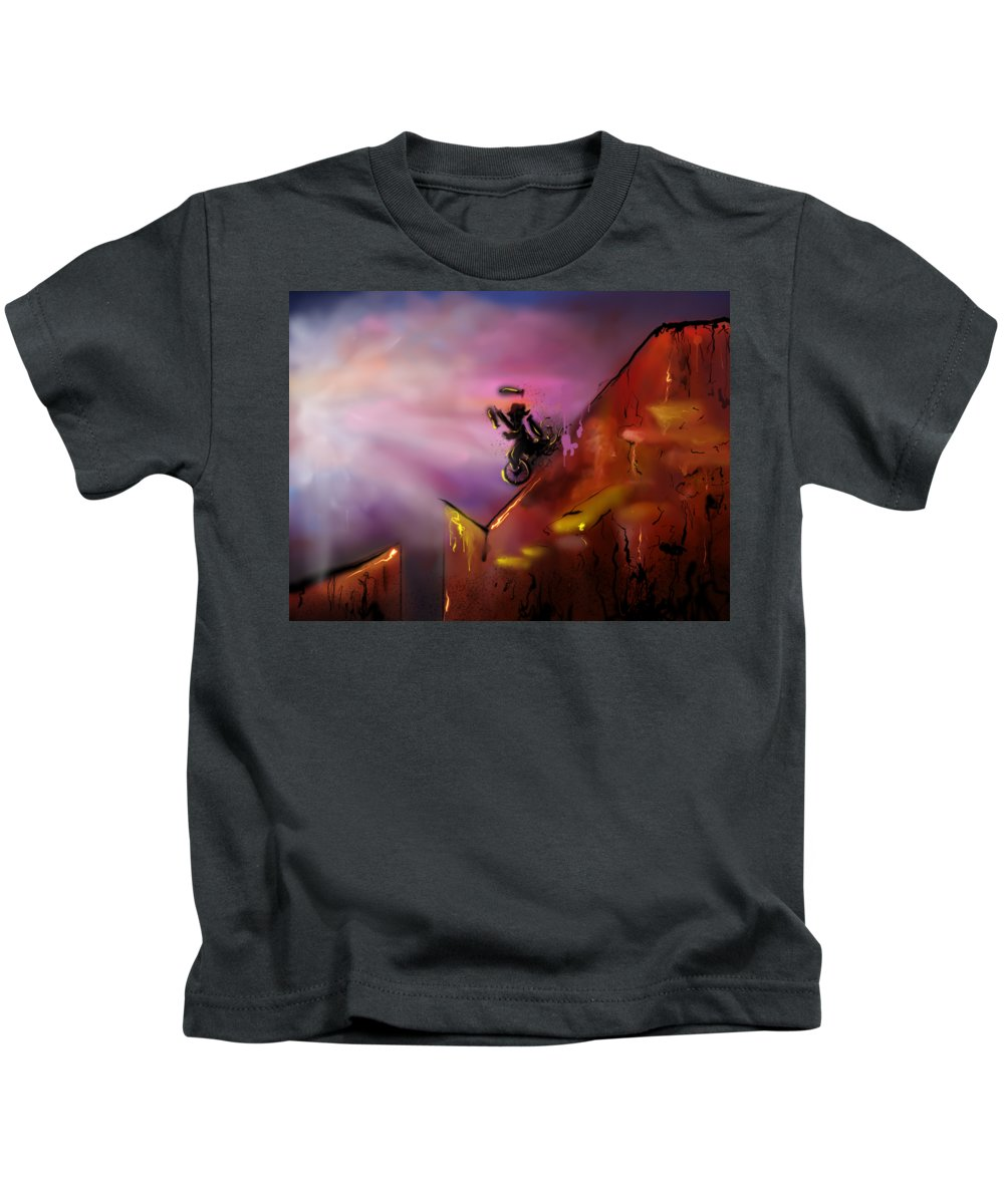 Unicycle Kids T-Shirt featuring the digital art Unicycle Juggling Down by Kendall Tabor