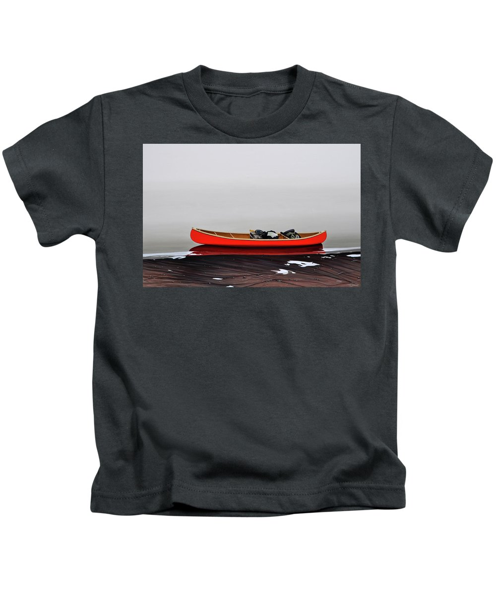 Landscape Paintings Kids T-Shirt featuring the painting Until The Fog Lifts by Kenneth M Kirsch