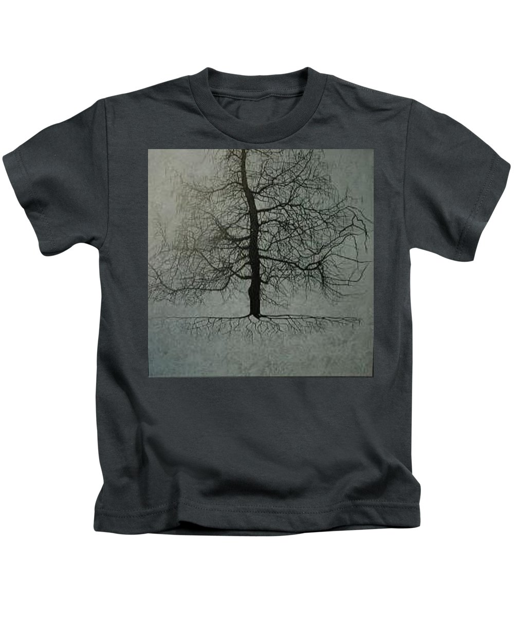 Silhouette Kids T-Shirt featuring the painting Untitled Blue by Leah Tomaino