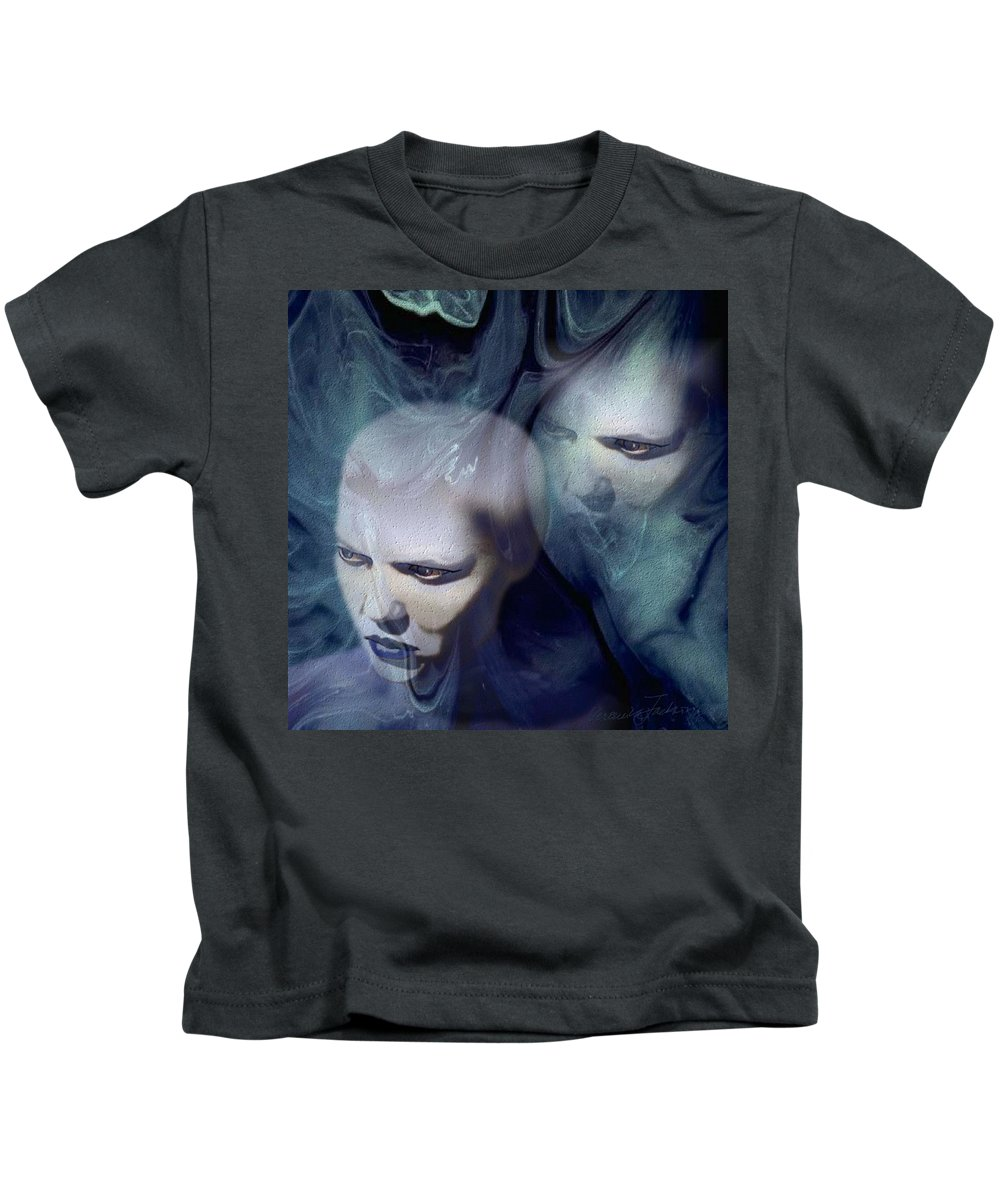 Dream Afterlife Experience Blue Smoke Kids T-Shirt featuring the digital art Untitled by Veronica Jackson