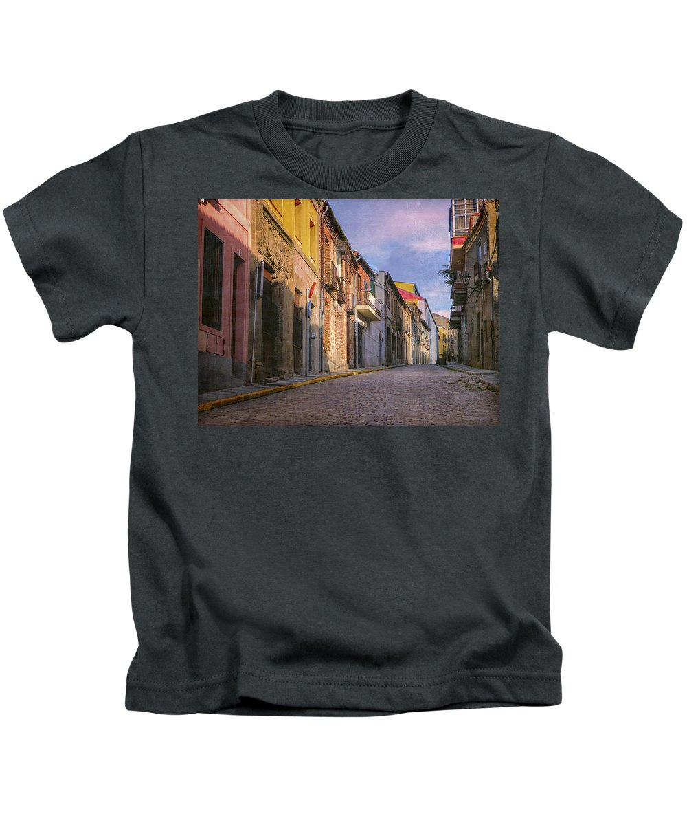 Joan Carroll Kids T-Shirt featuring the photograph Uphill In Avila by Joan Carroll