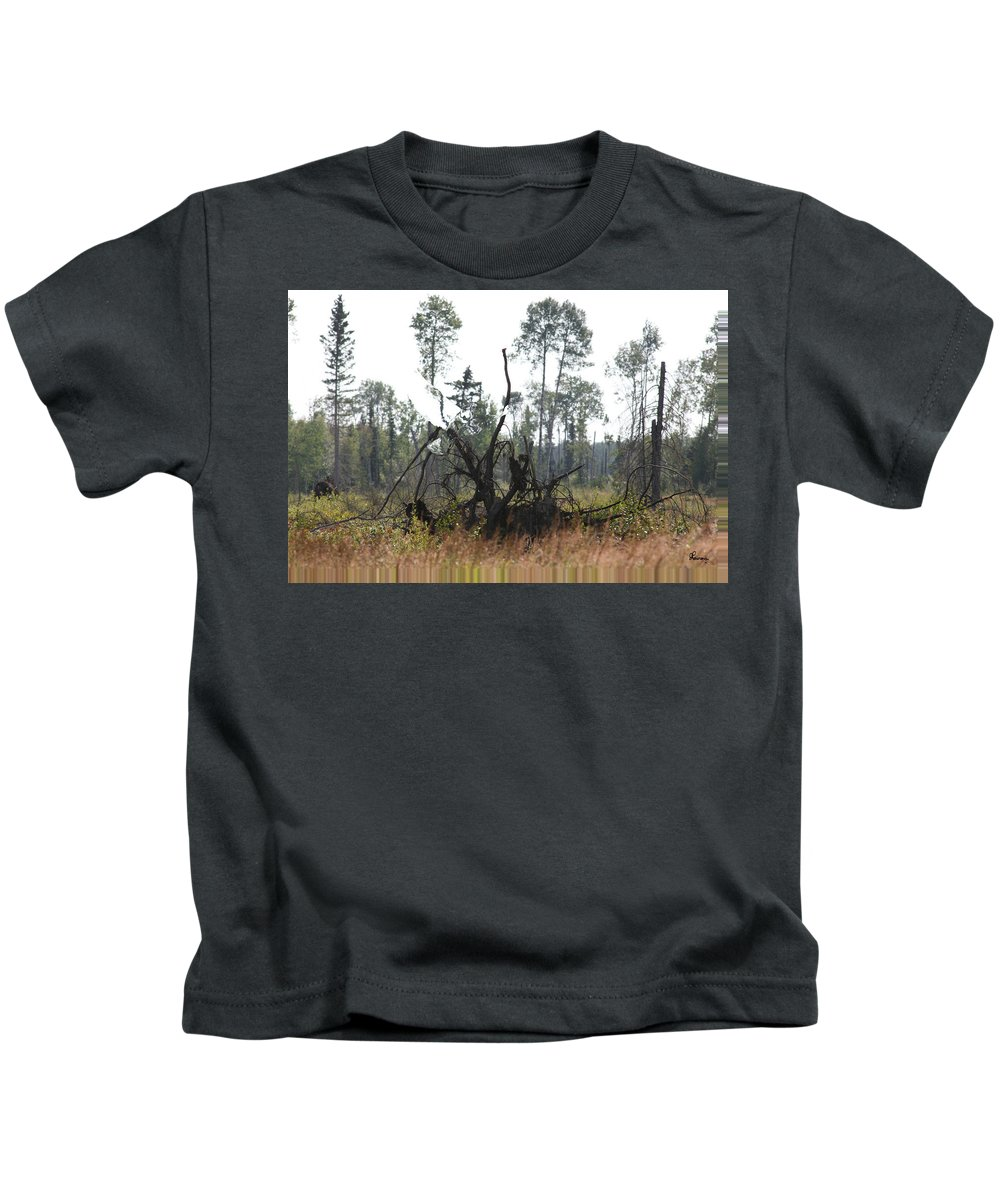 Roots Tree Stump Hawk Bird Wild Forest Nature Feeling Abstract Kids T-Shirt featuring the photograph Uprooted by Andrea Lawrence