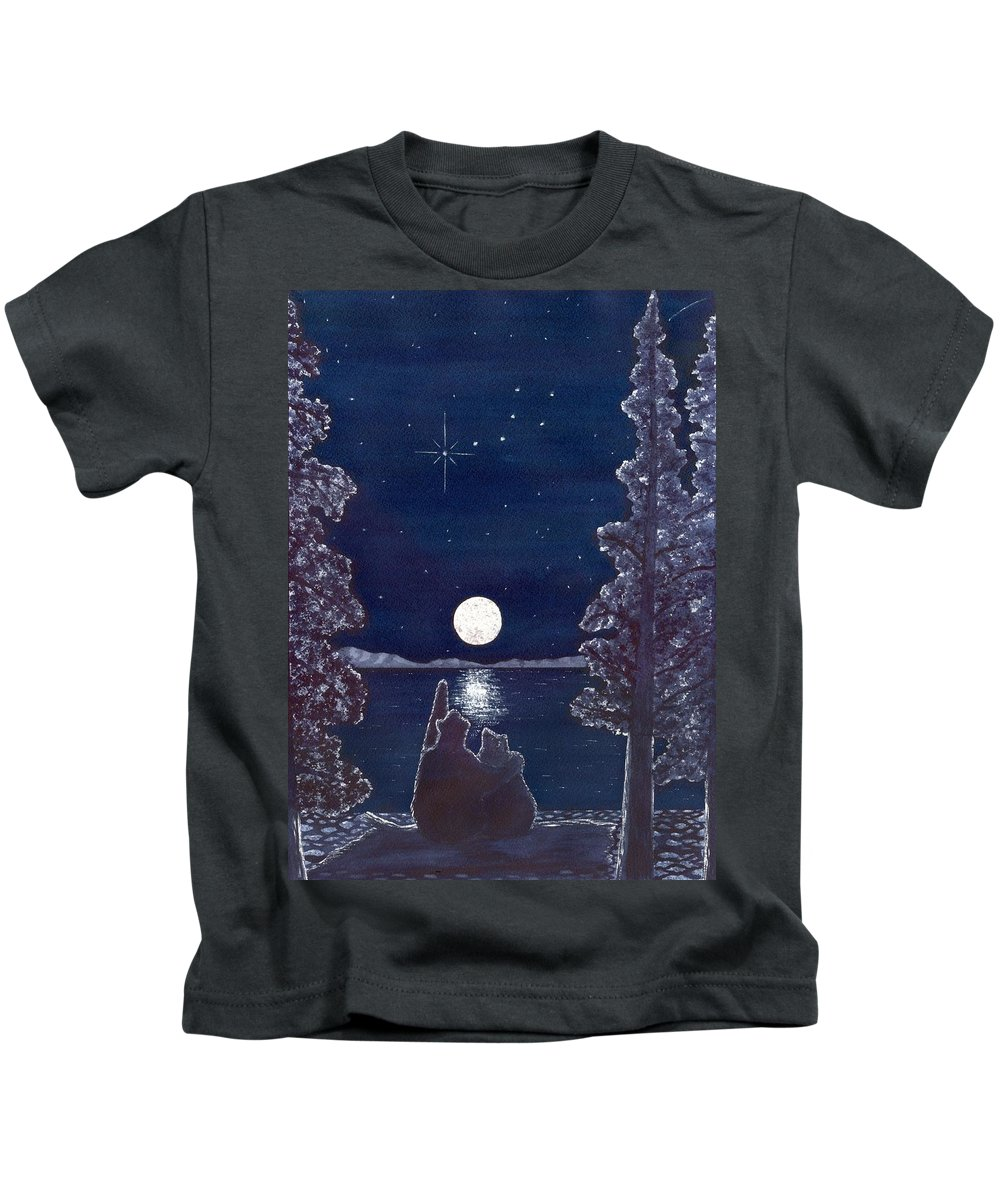 Bear Kids T-Shirt featuring the painting Ursa Minor by Catherine G McElroy