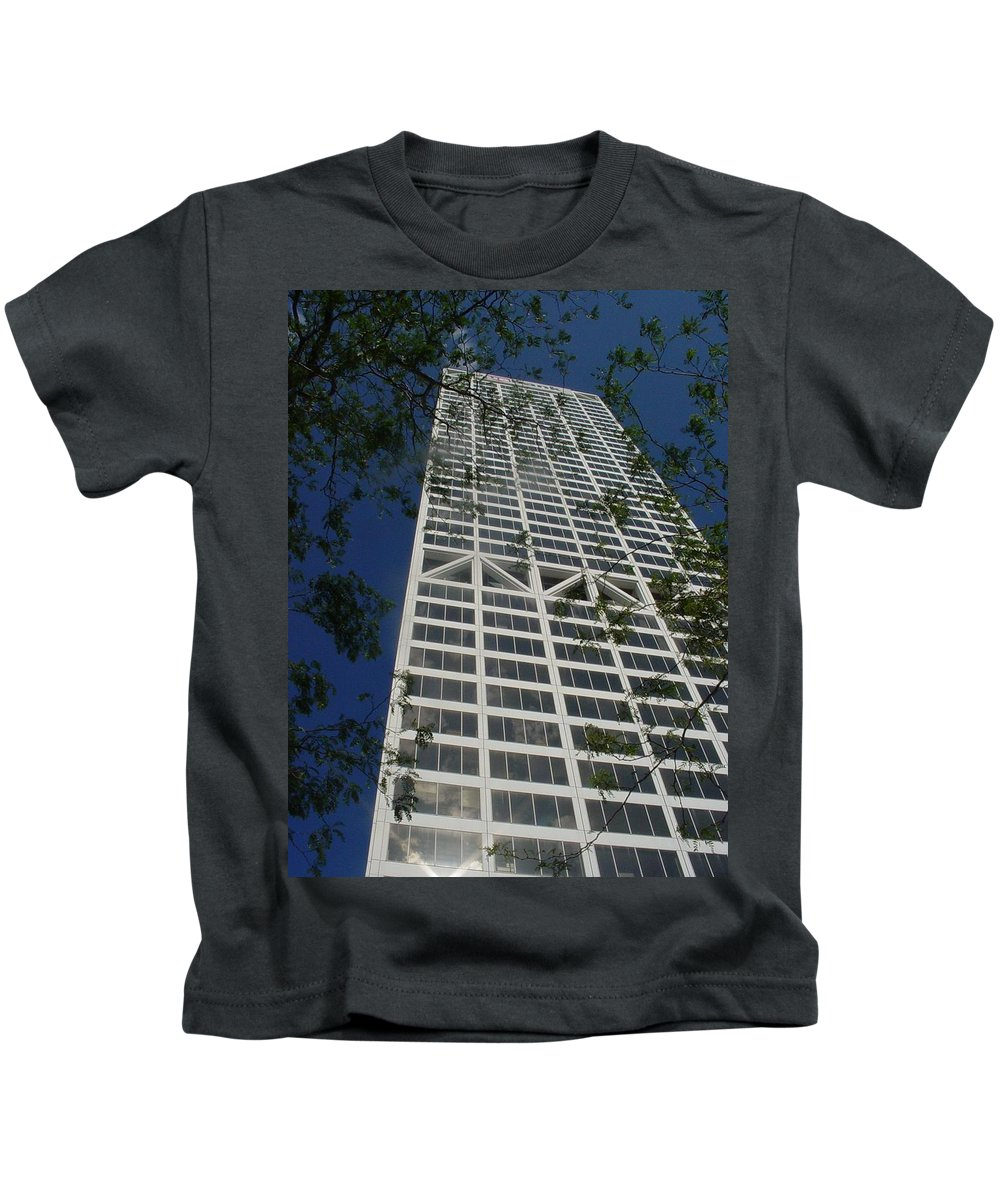 Us Bank Kids T-Shirt featuring the photograph Us Bank With Trees by Anita Burgermeister
