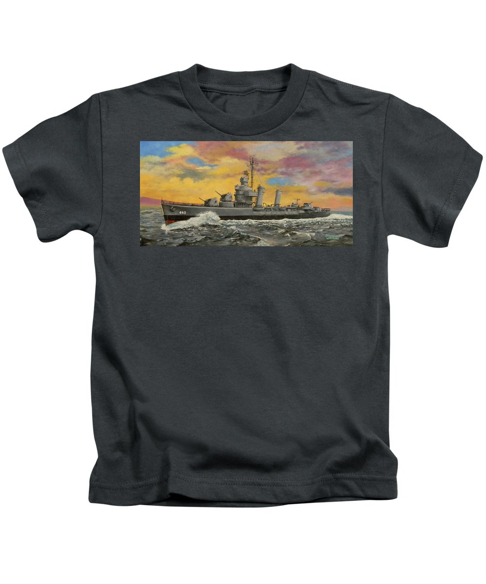 Destroyer Kids T-Shirt featuring the painting Uss Ericsson by Duwayne Williams