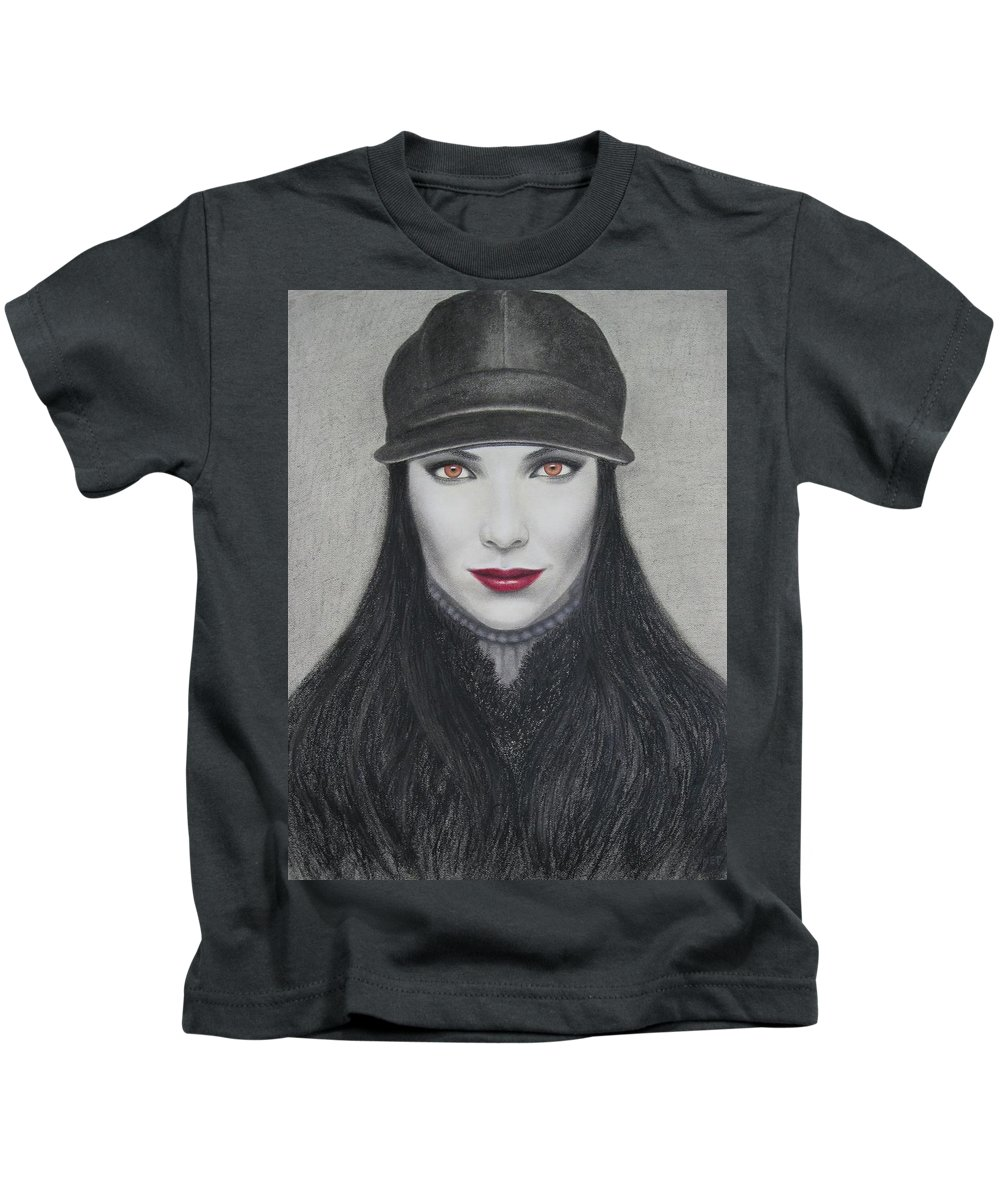 Vampire Kids T-Shirt featuring the painting Vampire by Lynet McDonald