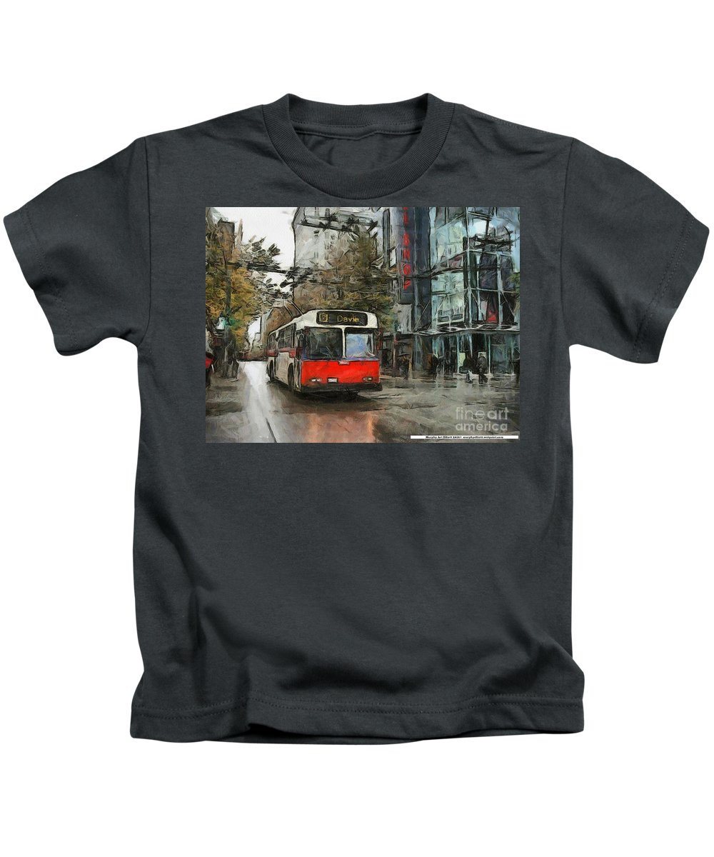 Vancouver Kids T-Shirt featuring the painting Vancouver Streets by Murphy Elliott
