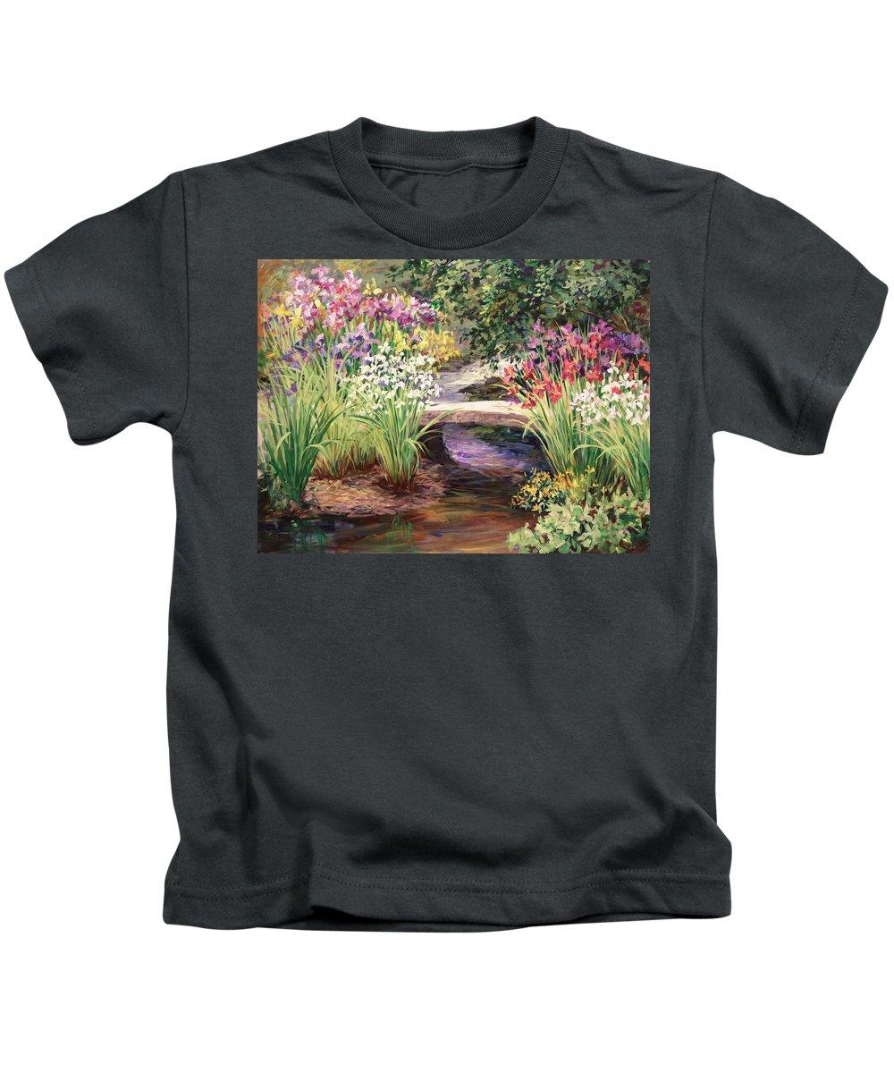 Landscape Kids T-Shirt featuring the painting Vandusen Garden Iris Bridge by Laurie Hein