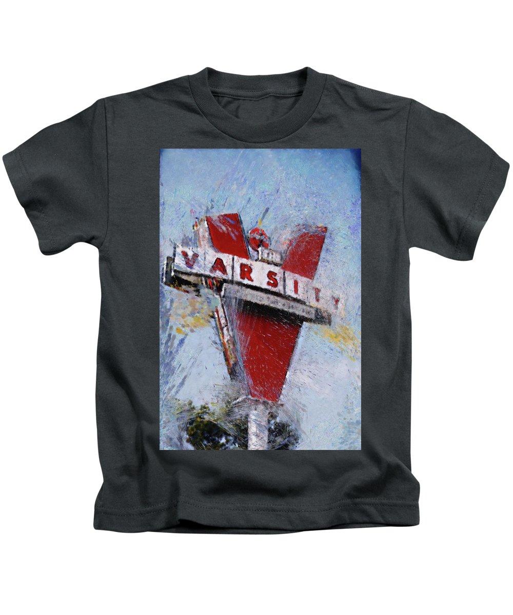 Atlanta Georgia Varsity Iconic Modern Vintage Tech Gt Kids T-Shirt featuring the digital art Varsity Drive-in Atlanta by Roger Estrada