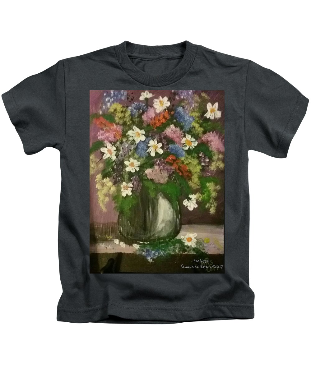 Lilacs Kids T-Shirt featuring the painting Vase Of Flowers #1 by Melissa Suzanne Ryan