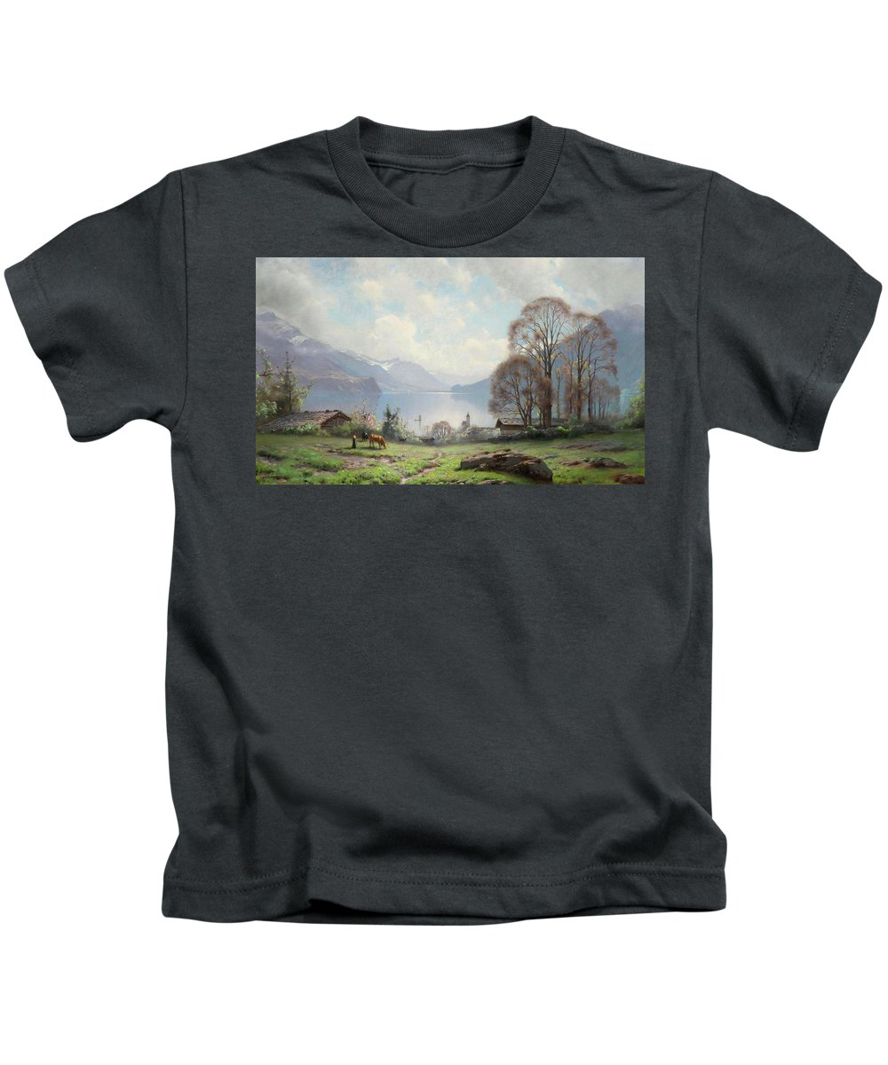 Veillon Kids T-Shirt featuring the painting Veillon by MotionAge Designs