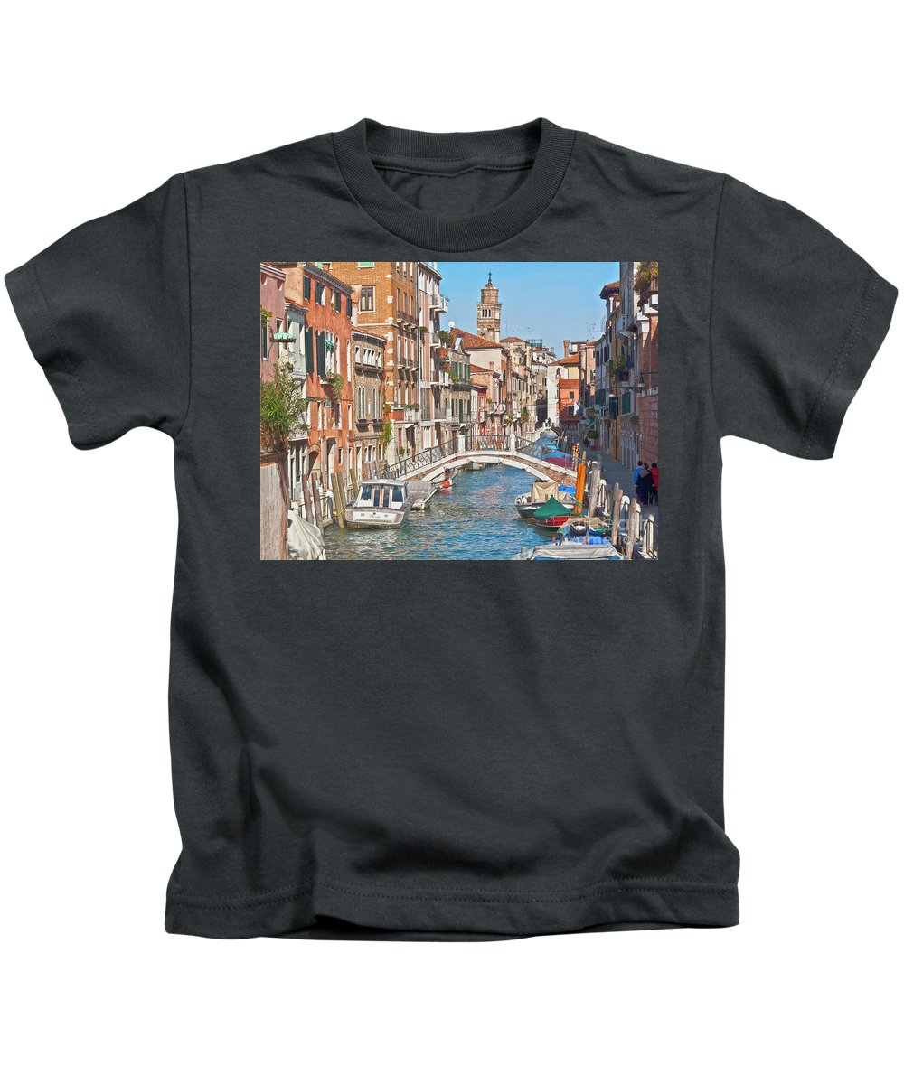 Venice Kids T-Shirt featuring the photograph Venice Canaletto Bridging by Heiko Koehrer-Wagner