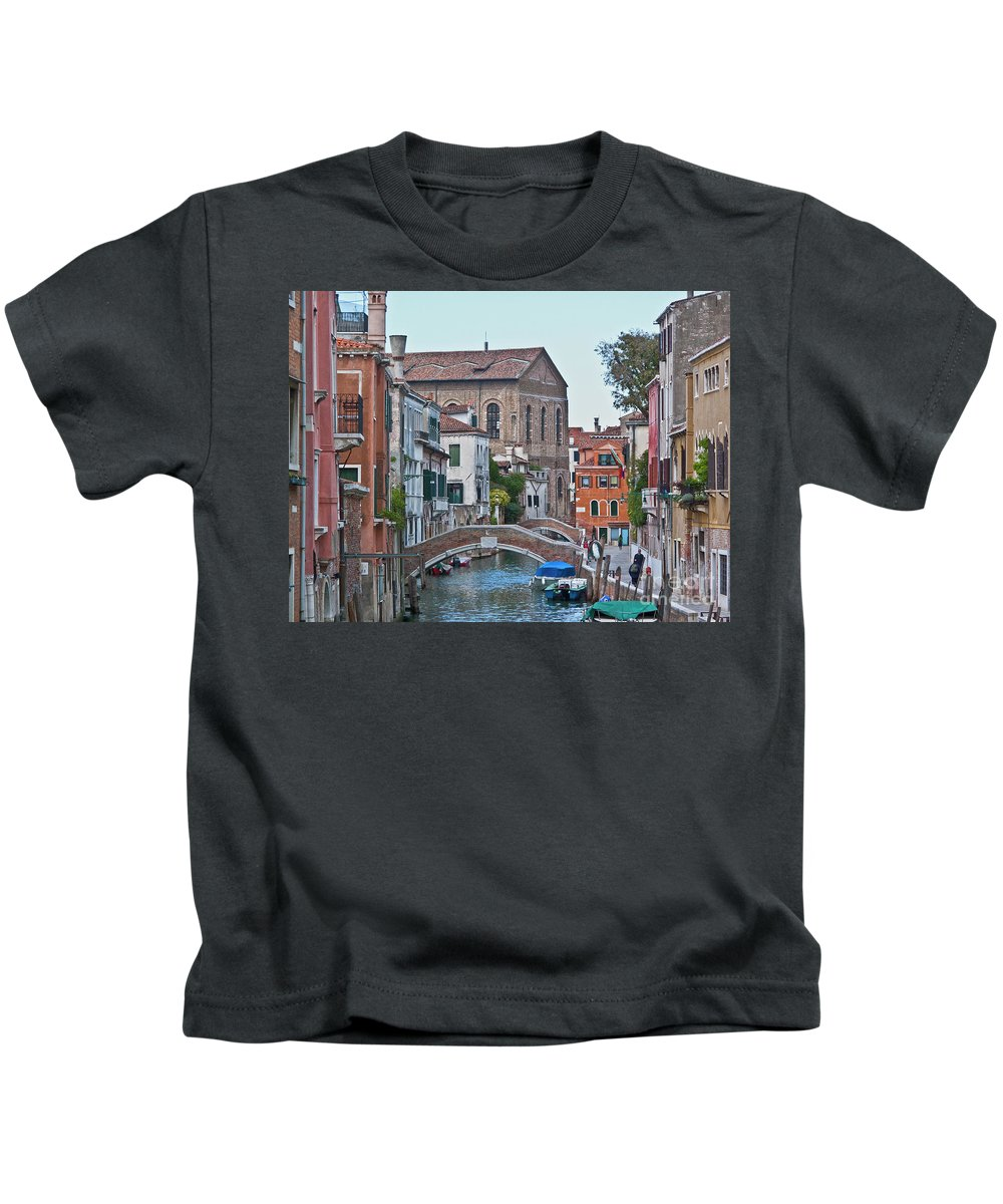 Venice Kids T-Shirt featuring the photograph Venice Double Bridge by Heiko Koehrer-Wagner