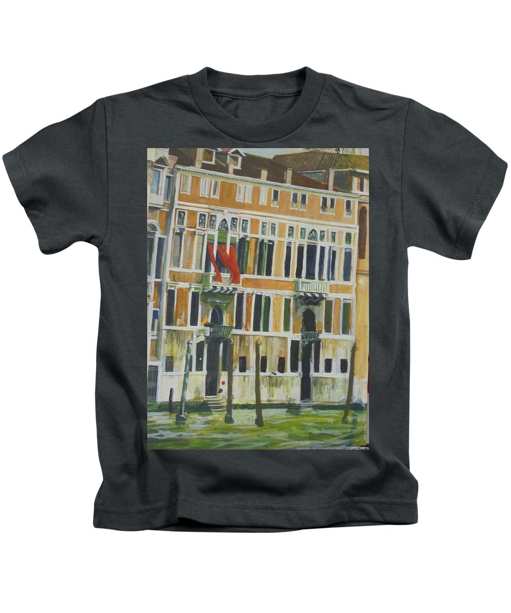 Townscape Kids T-Shirt featuring the drawing Venice Scene.  by Mike Jeffries