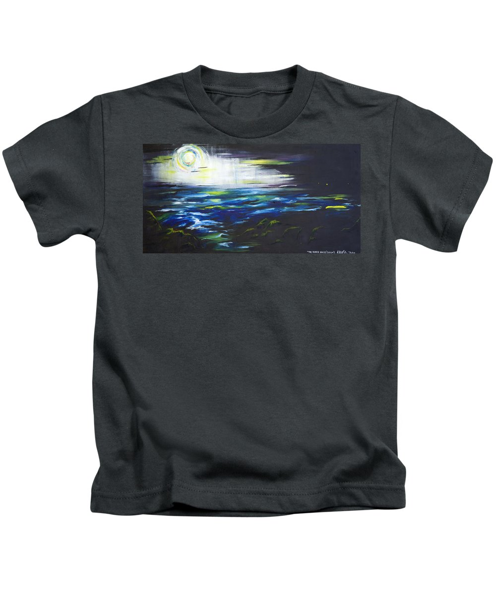 Night Kids T-Shirt featuring the painting Ventura Seascape At Night by Sheridan Furrer