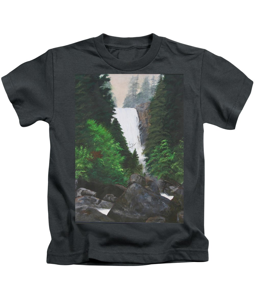 Landscape Kids T-Shirt featuring the painting Vernal Falls by Travis Day
