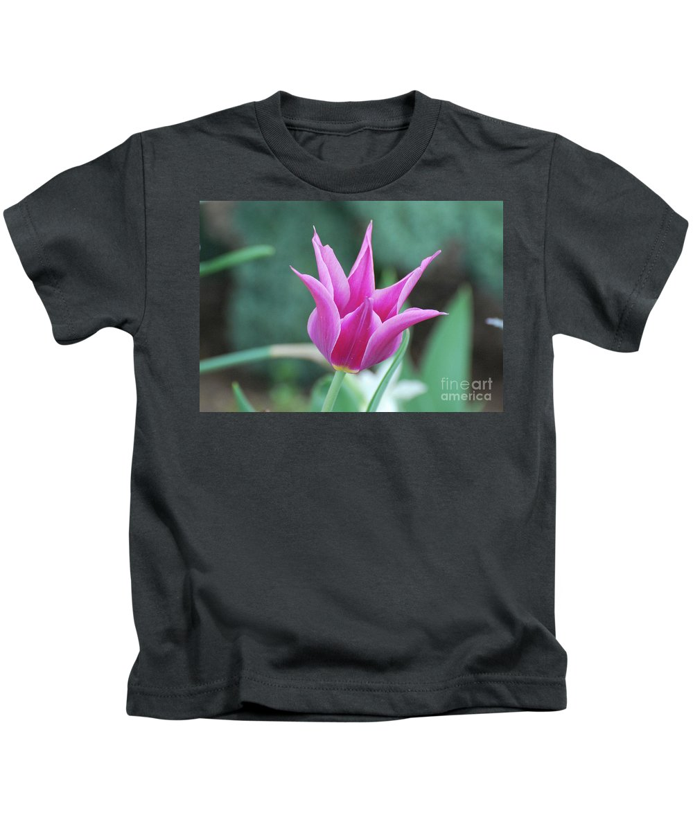 Tulip Kids T-Shirt featuring the photograph Very Pretty Blooming Pink Spikey Tulip Flower Blossom by DejaVu Designs