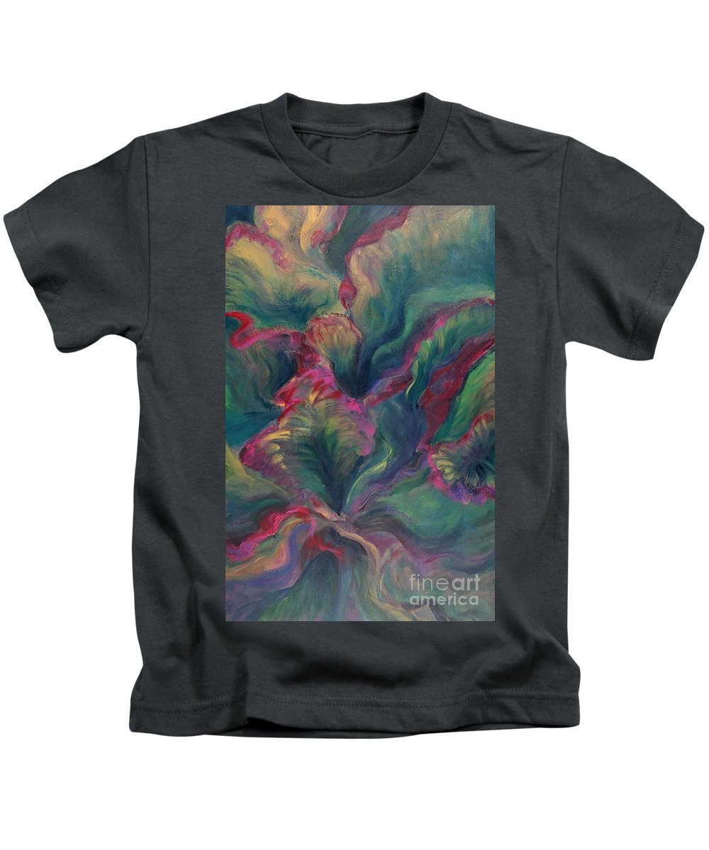 Leaves Kids T-Shirt featuring the painting Vibrant Leaves by Nadine Rippelmeyer