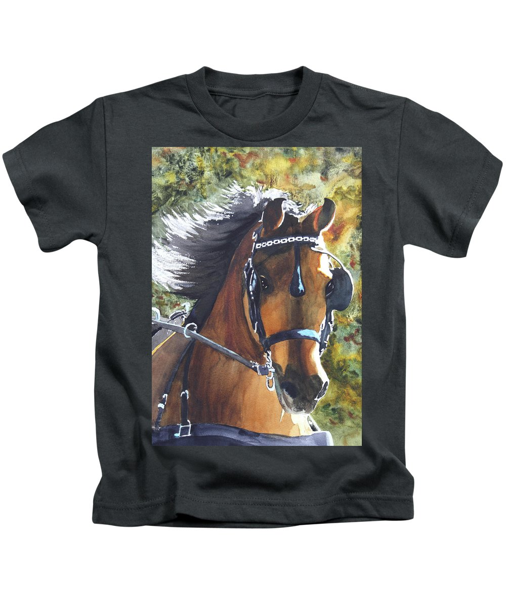 Horse Kids T-Shirt featuring the painting Victorious by Ally Benbrook