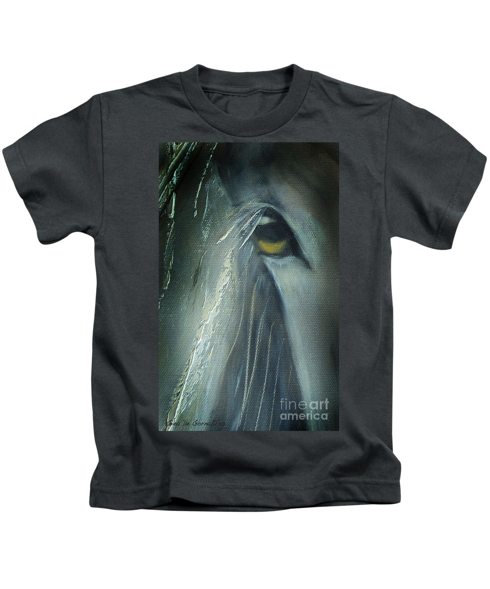 Horses Kids T-Shirt featuring the painting View 2 by Gina De Gorna