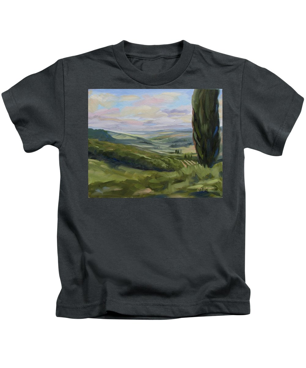 Landscape Kids T-Shirt featuring the painting View from Sienna by Jay Johnson