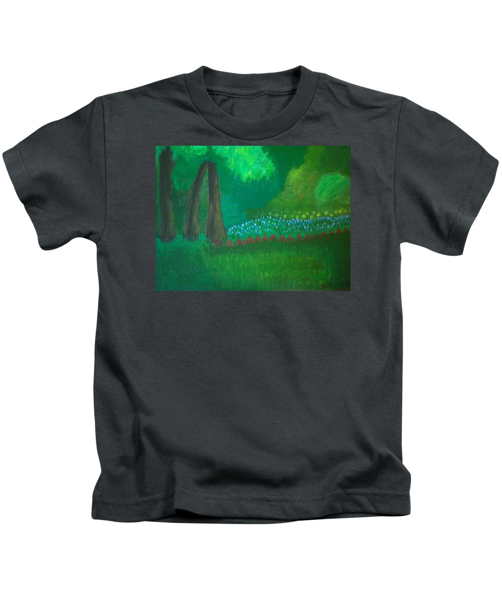 Trees Kids T-Shirt featuring the painting View From The Front Porch by Candy Bott