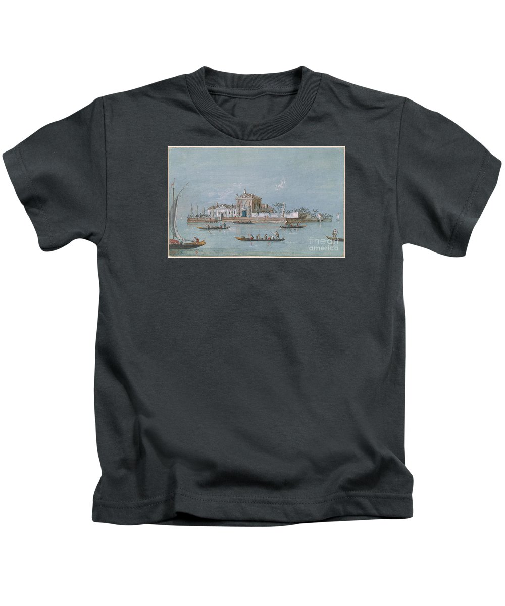 Giacomo Guardi 1764-1835 View Of The Island Of B.v. Del Rosario. Kingdom On Water Kids T-Shirt featuring the painting View Of The Island Of B.v. Del Rosario by MotionAge Designs